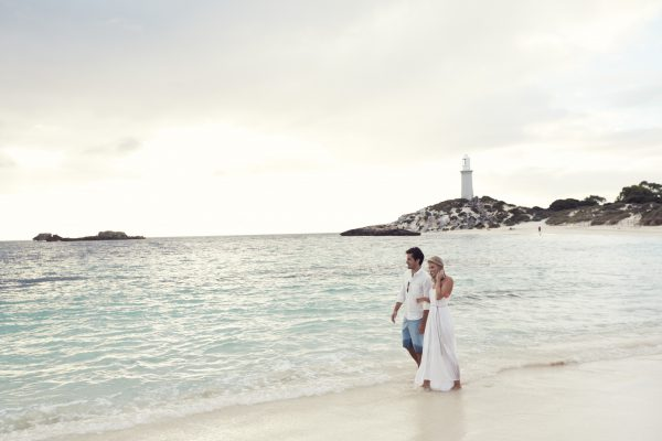 View of the Bathurst Lighthouse from Pinky Beach on Rottnest Island in Western Australia
