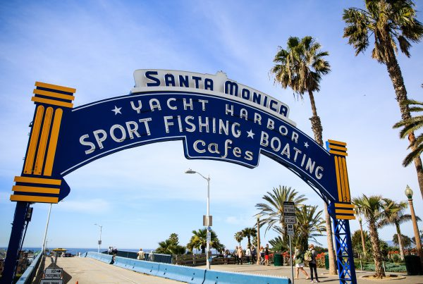 The entrance to the Santa Monica Pier, Santa Monica, California, March 7, 2017.