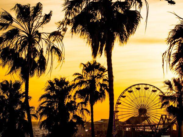 Sunset at the Santa Monica Pier in Santa Monica, California, March 7, 2017.